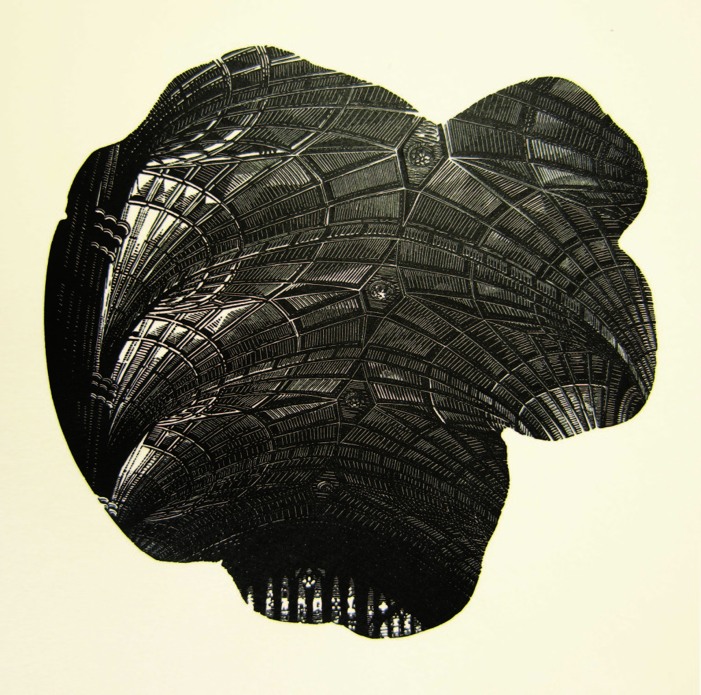 Anne Desmet, Fan Vault, 16x16cm, Wood engraving