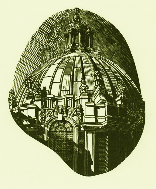 Anne Desmet, Library Dome, 14x11cm, Wood engraving