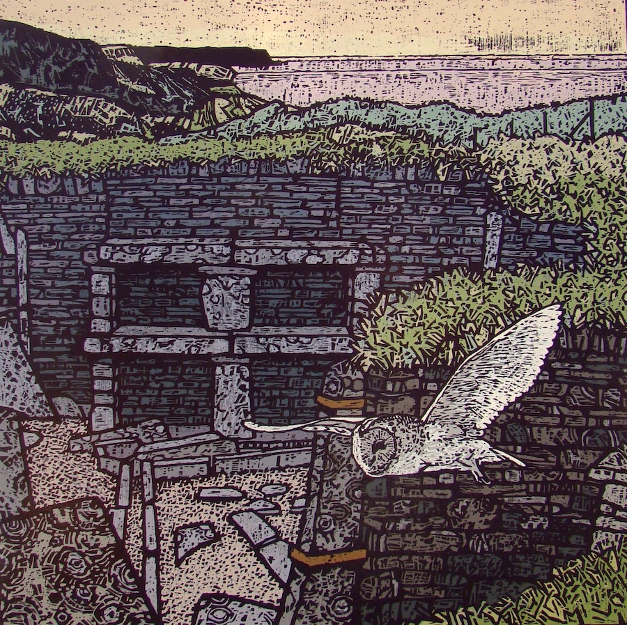 Anthony Ratcliffe, Skara Brae, 60x60cm, Woodcut print
