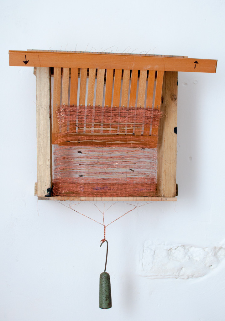 Bridget Kennedy, Wylfa Weave Three, 36x34cm, Recycled copper wire and sea thrift on a portable wooden loom with mineralised rock