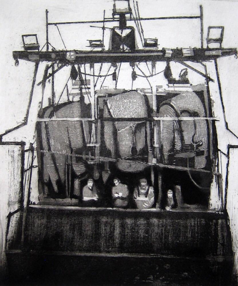 David Morris, Trawler-Men Resting, 47x40cm, EtchingLR