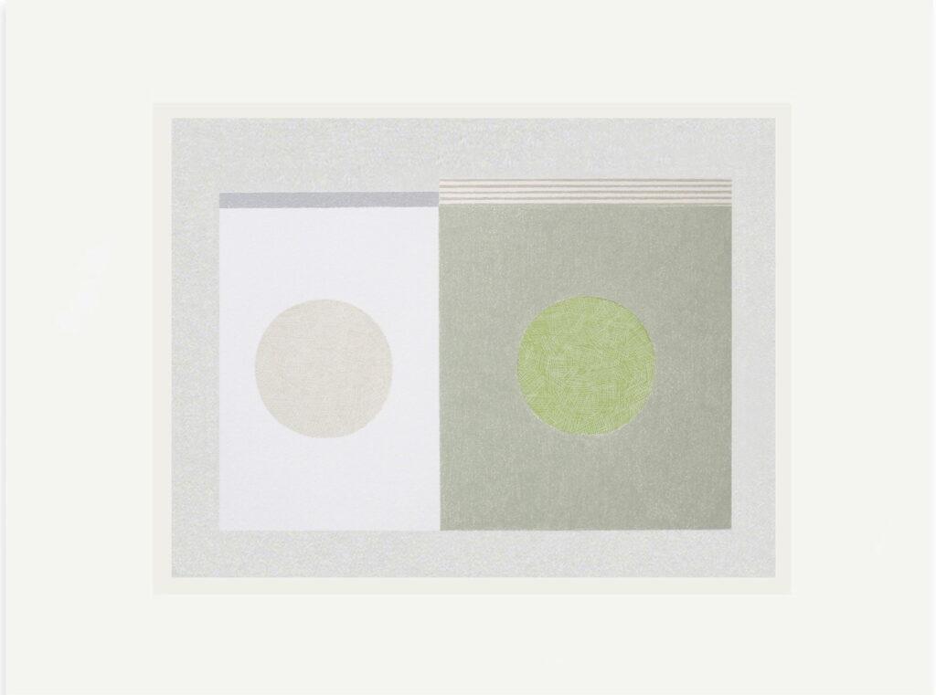 Emma Lawrenson, Green Stone, 45x57cm, Screenprint and pencil on Fabriano RosaspinaLR
