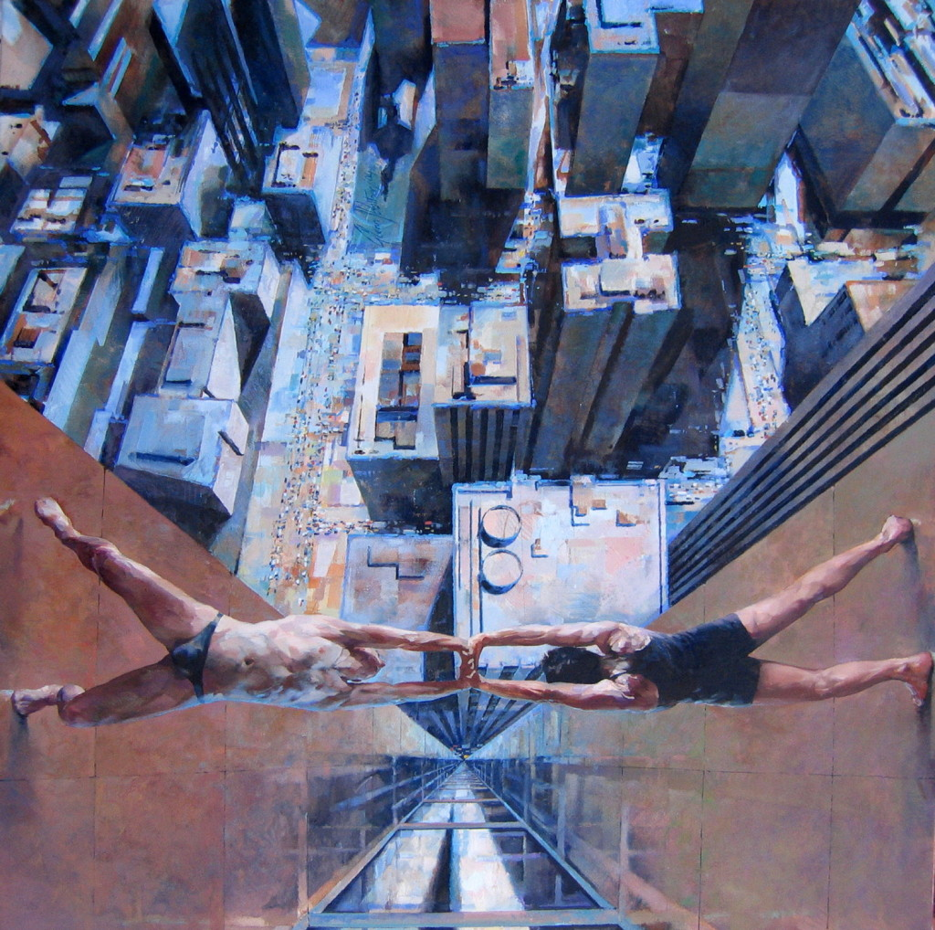 Glenn Ibbitson, Human Bridge, 122x122cm, Acrylic and oil on canvasLR