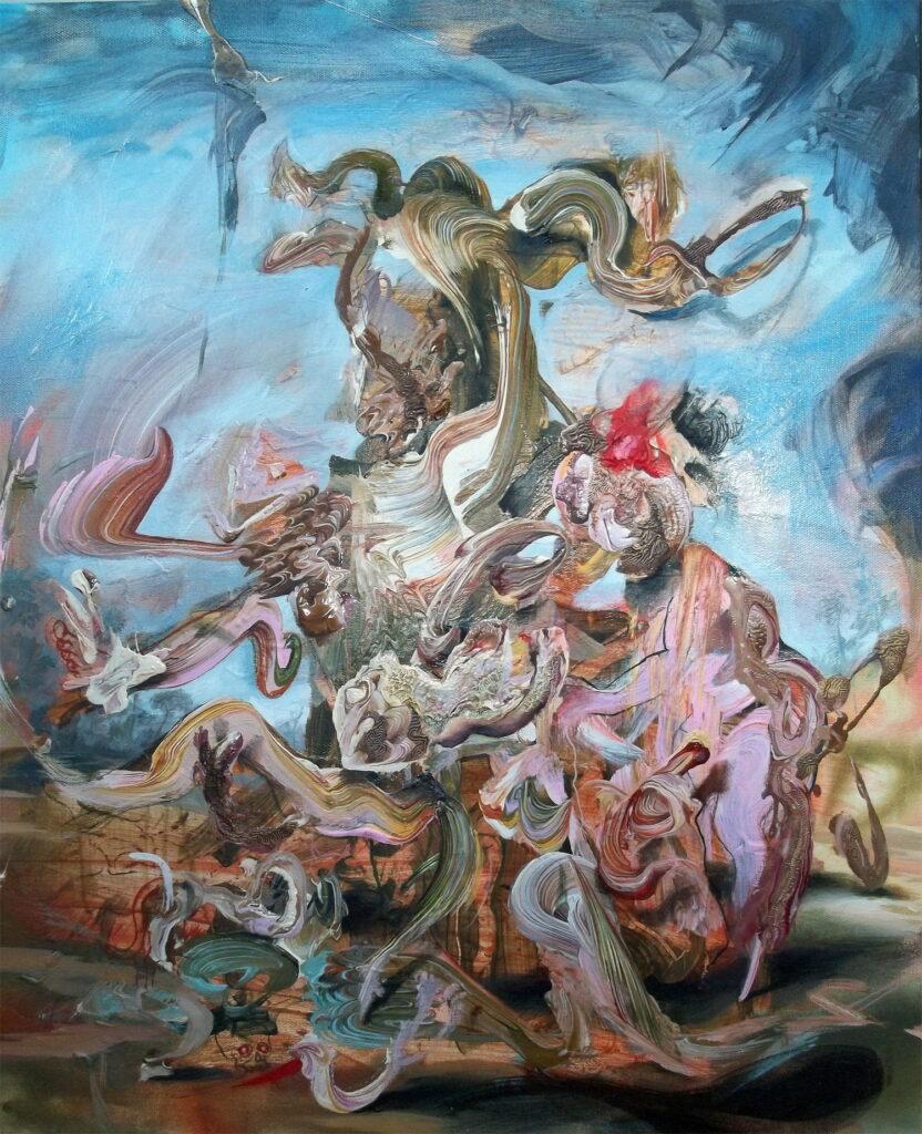 Iain Andrews, Hail Horrors, Hail, 60x50cm, Acrylic and oil on canvasLR