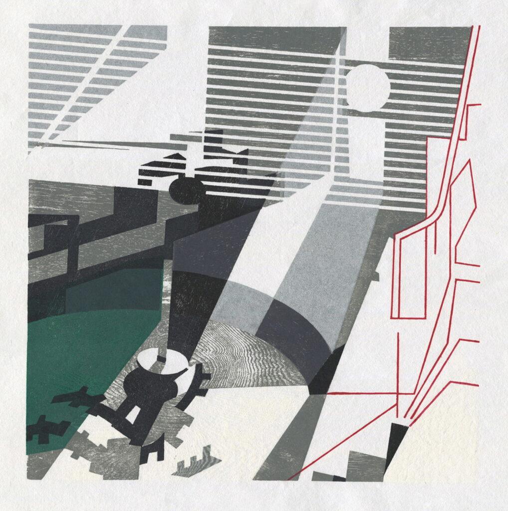 Jonathan Lloyd, Mash Tun, Bruichladdich, 48x48cm, Woodcut