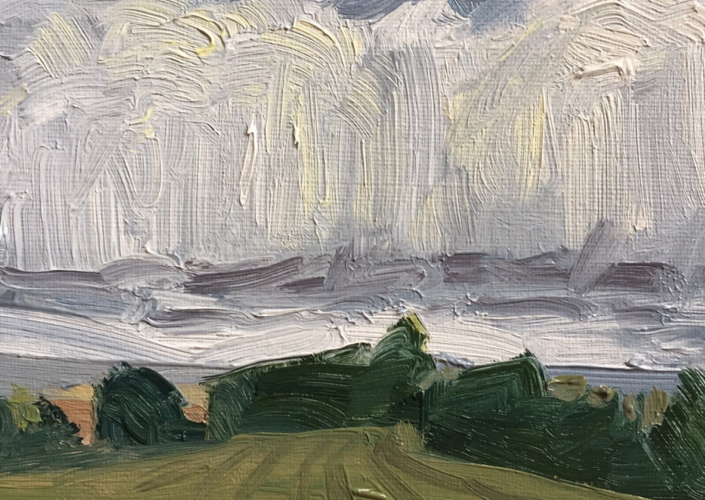 Josh Newsome, Towards Birdwell, 12x17cm, Oil on canvas board