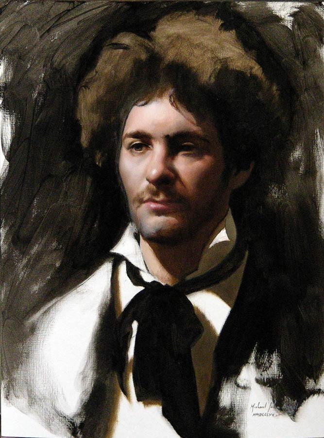 M. John Angel, The Poet (Emmanuelle), 47x35cm, Oil on paper