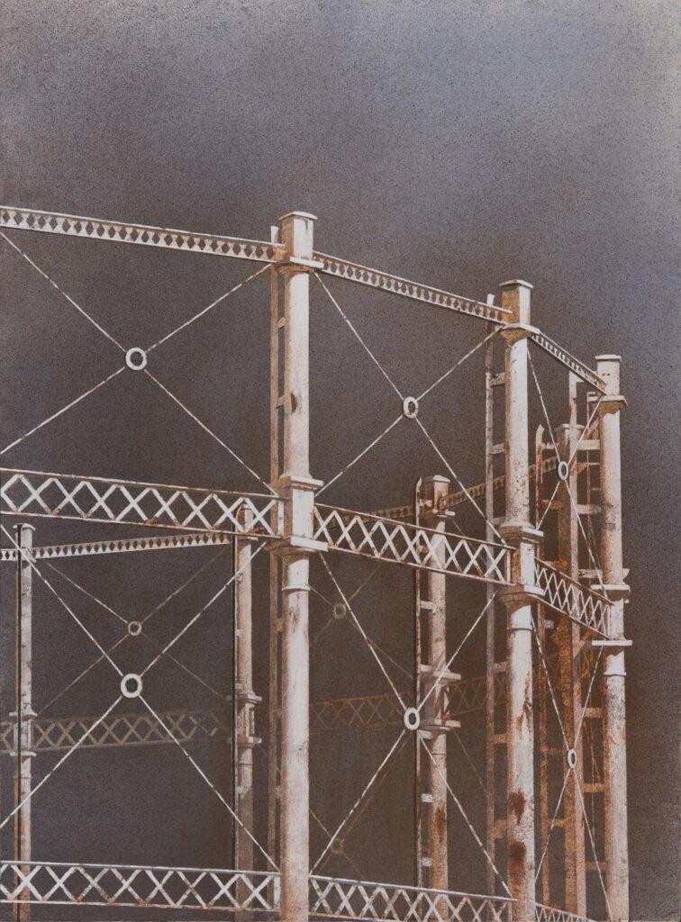 Maxwell Doig, Gasometer II, 122x90cm, Acrylic on canvas on panel