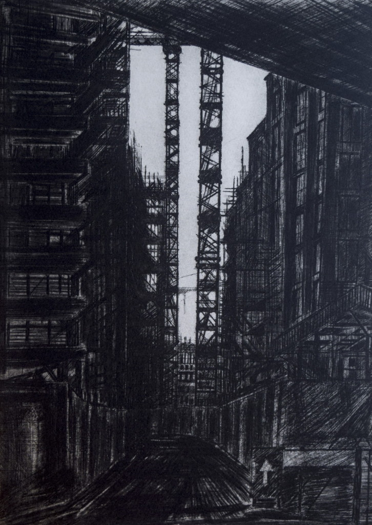 Melanie Bellis, Two Cranes, 40x29cm, Etching