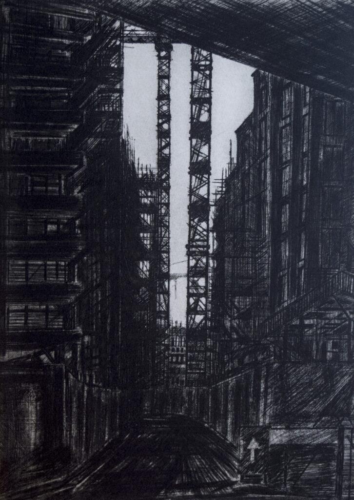 Melanie Bellis, Two Cranes, 40x29cm, Etching