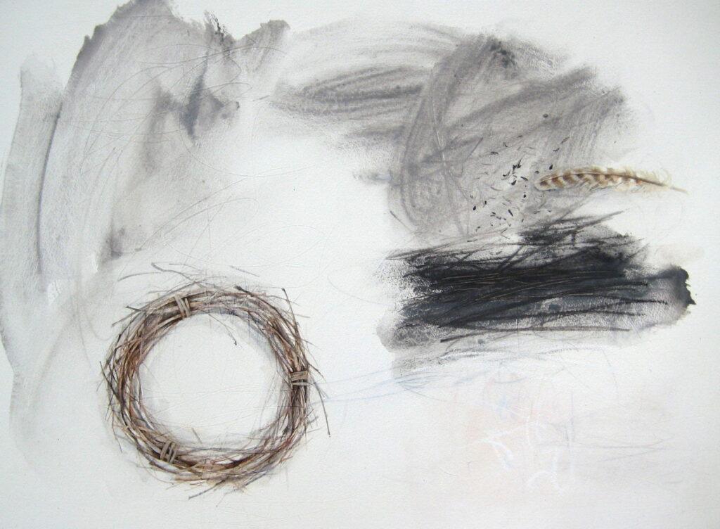 Rachel Gibson, Winter Drawing, Solstice, 50x70cm, Acrylic