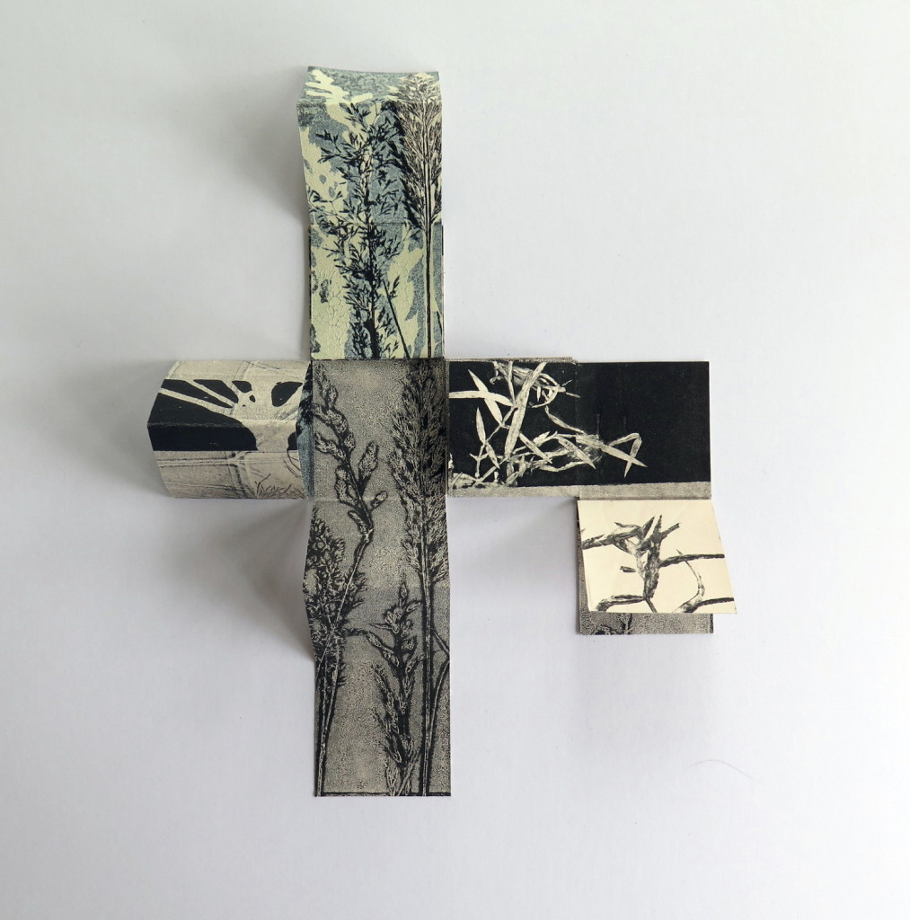 Stef Mitchell, Entwine Waters Edge Walk, 35x35cm, Folded double-sided monoprint