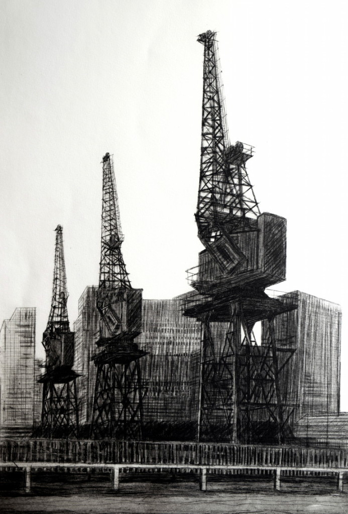 Melanie Bellis, Shipping Cranes at Blue Bridge, Etching