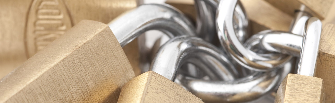 a chain of security padlocks